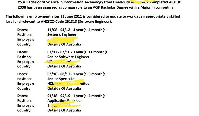 ACS Work Experience 2, 4 or 6 year Deduction Calculation