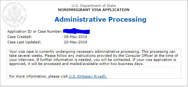 1st H1b visa is in administrative processing issued in