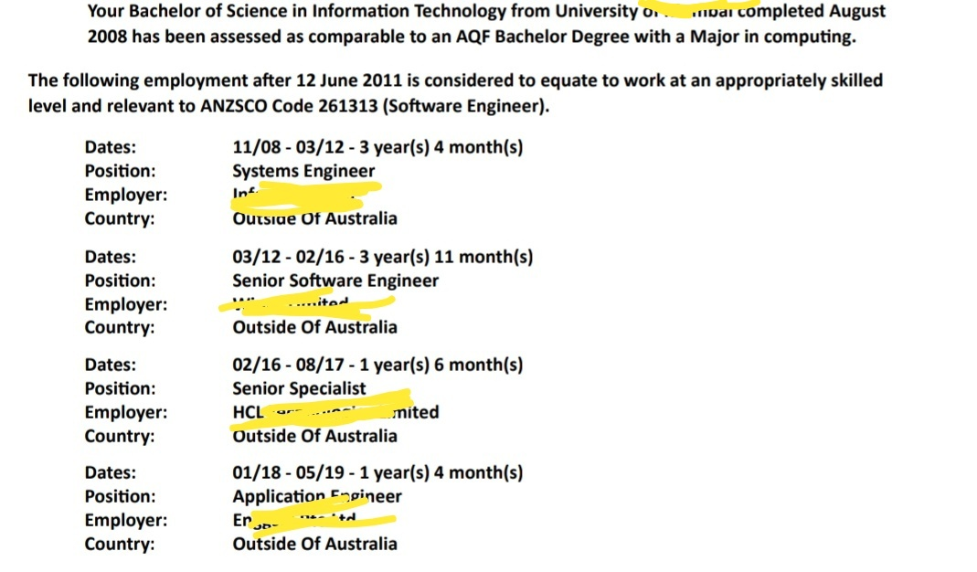 ACS Work Experience 2, 4 or 6 year Deduction Calculation - AM22 Tech